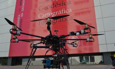 A drone at the School of Geomatics of Valencia