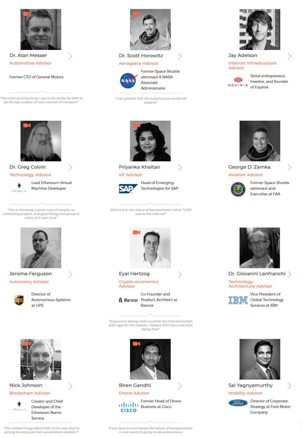 The DAV Foundation board includes an impressive array of heads from big names in aerospace, automotive, cryptocurrency, data and software