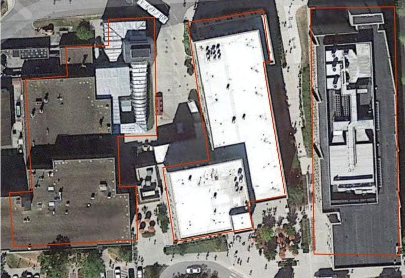 Results of building identification imposed over satellite imagery for a region of the Virginia Tech campus