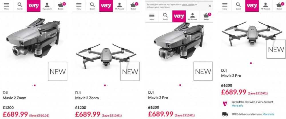 DJI Mavic 2 Pro and Zoom were posted on UK's Very website