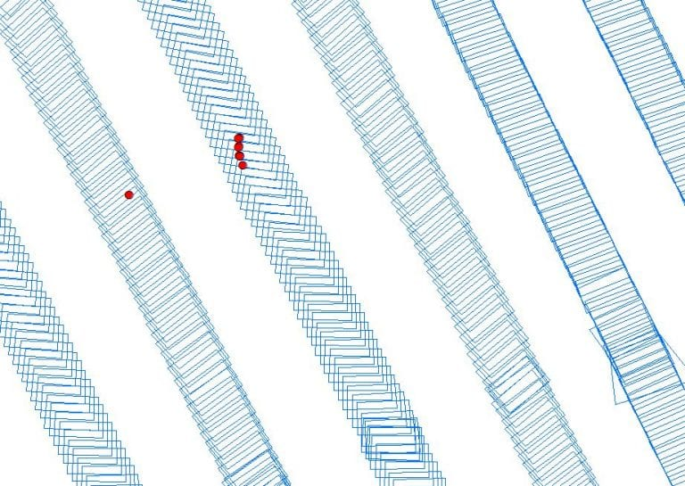 Georeferenced on-ground image footprints (blue rectangles) and dugong sighting positions (red circles) obtained from an aerial survey conducted with WingtraOne © Christophe Cleguer.