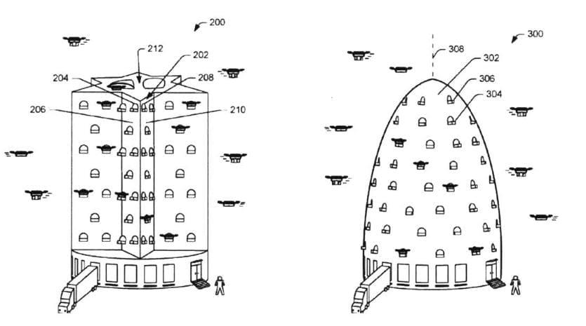 Drone fulfillment center designs in Amazon patent application.