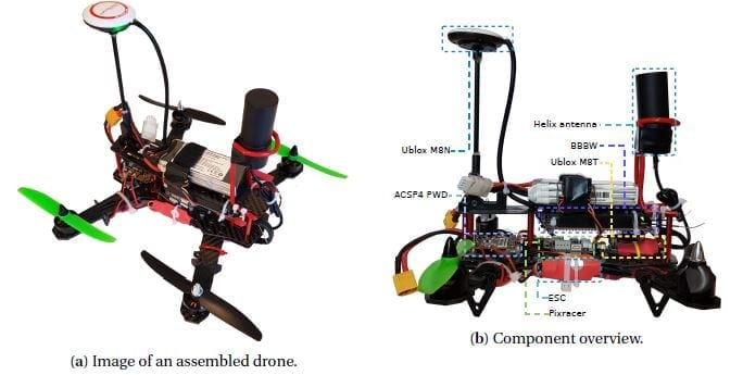 Images of the components assembled into a single drone.