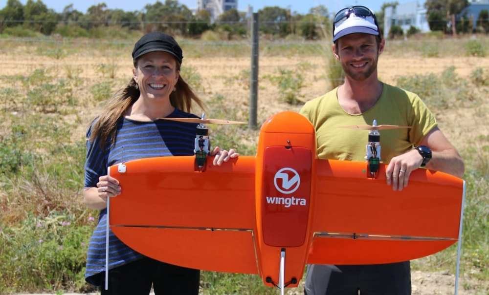 WingtraOne is the drone of choice for Amanda and Christophe . Credit: Murdoch University