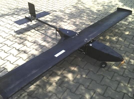 Experimental UAV fitted with hydrogen generator working on 20% water solution of NaBH4 and FC system developed by Marmara Research Centre Energy Institute and National Boron Research Institute (Turkey)