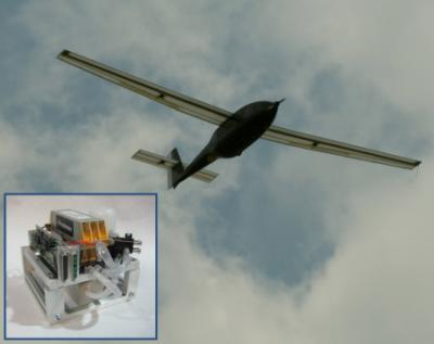 The Ion Tiger in flight and a 550 W fuel cell (insert)