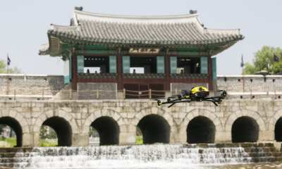 Using the Intel Falcon 8+ system and 36-megapixel Sony A7R payload, Intel's strategic partner DRONEID was able to conduct an aerial survey and inspect the Hwahongmun Gate in just a few hours. (Credit: DRONEID)