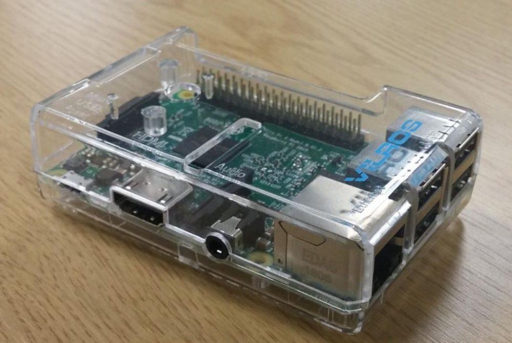 Raspberry Pi in a transparent plastic case
