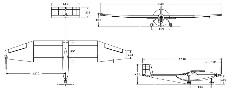 Three-view of GustAV (all dimensions are in mm).