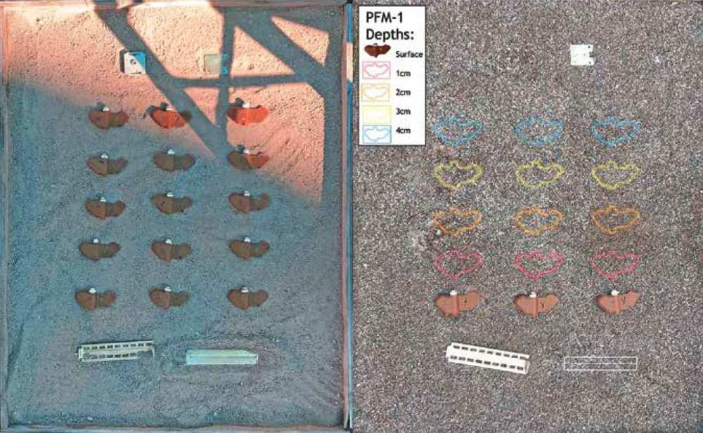 Sand environment for trials 3 and 4 with 9 PFM-1 mines and KSF-1 cassette casing elements.