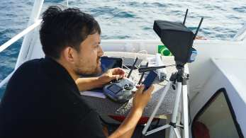 Island-Conservation-Galapagos-National-Park-seymour-norte-drone-from-boat-operator-invasive-species