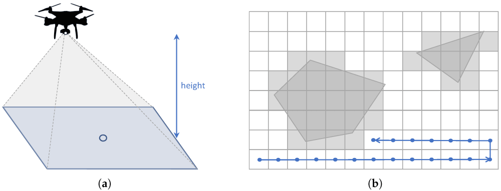 Approximate cellular decomposition: (a) Projected area; (b) Regular grid with waypoints.