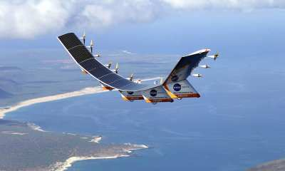 The Helios Prototype was the fourth and final aircraft developed as part of an evolutionary series of solar- and fuel-cell-system-powered unmanned aerial vehicles. AeroVironment, Inc. developed the vehicles under NASA's Environmental
