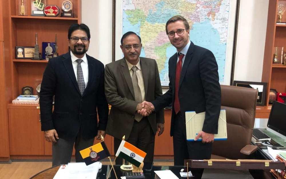 Sajid Mukhtar (MD, API-Roter Group) with Surveyor General Girish Kumar and Florian Seibel (CEO Quantum System)
