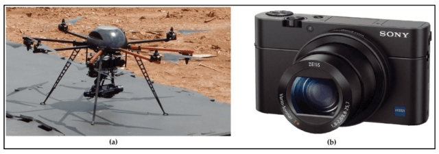 (a) Octocopter GYRO 200 OCTA 355 UAV; (b) Sony RX100M3 camera of 20.1 megapixels.