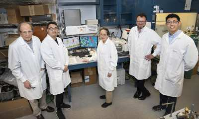 Brookhaven Lab members of the research team that developed and characterized a new core-shell catalyst for complete electro-oxidation of ethanol (l to r): Radoslav Adzic, Zhixiu Liang, Jia Wang, Eli Stavitski, and Liang Song.