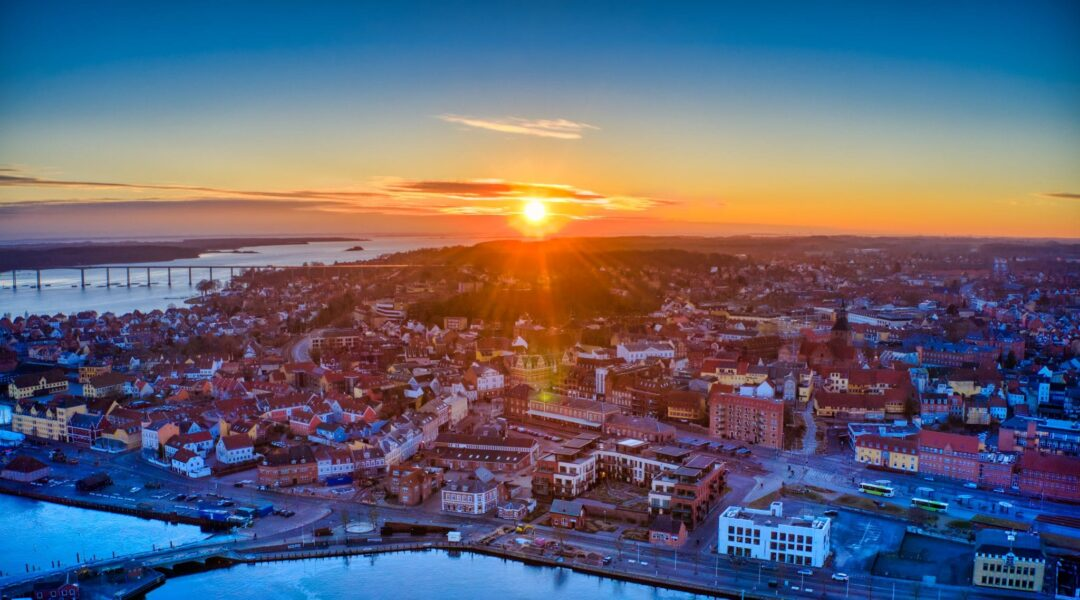 Dronefoto over Svendborg