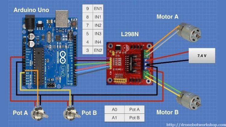L298 Motor Control Module Arduino Potentiometers