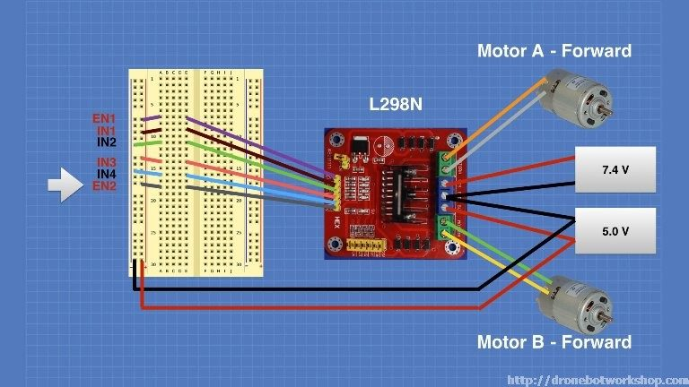 dc motors with l298n dual h bridge and arduino dronebot workshopl298 motor control module experiment 3