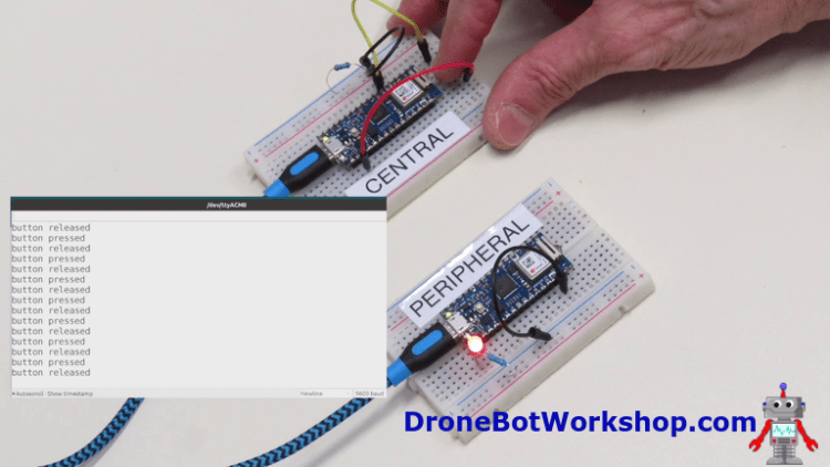 Arduino Nano 33 IoT Bluetooth Central - Peripheral Demo
