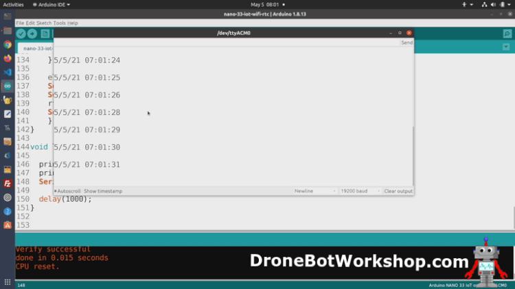 Arduino Nano 33 IoT WiFi RTC Demo
