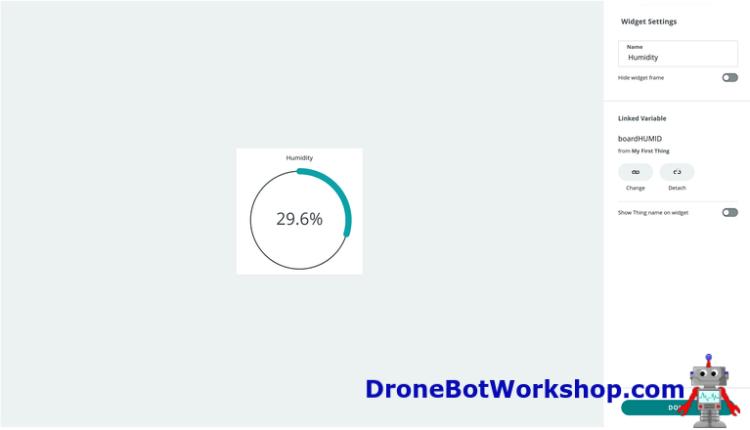 Arduino IoT Cloud Dashboard Percentage