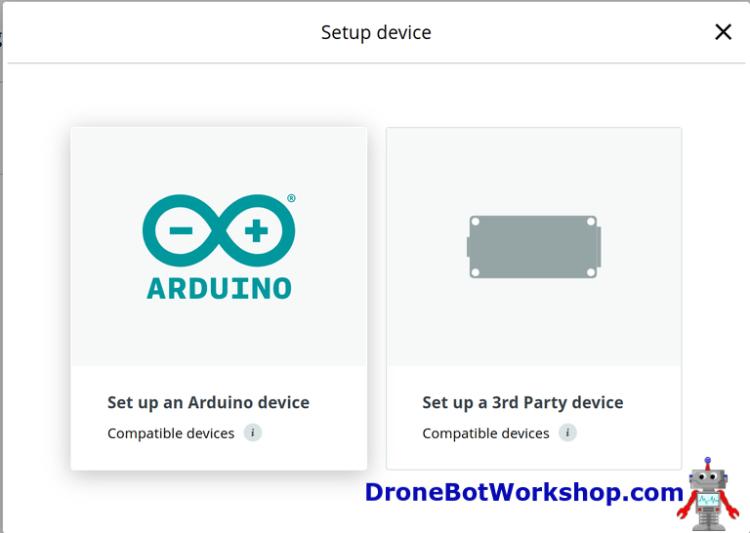 Arduino IoT Cloud Set up Device 1