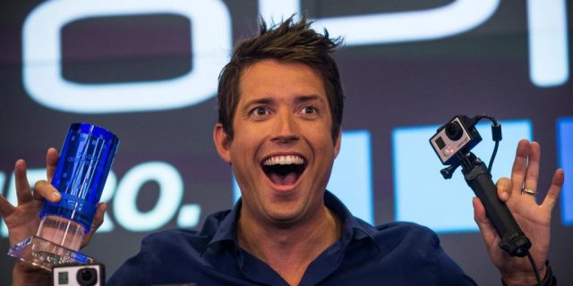 NEW YORK, NY - JUNE 26: Nick Woodman, founder and CEO of GoPro speaks during the company's initial public offering (IPO) at the Nasdaq Stock Exchange on June 26, 2014 in New York City. GoPro's small, cheap video cameras, which can be mounted to capture unique points of view and record in high definition, have seen a surge in use for capturing everything from extreme sports to personal moments. (Photo by Andrew Burton/Getty Images)