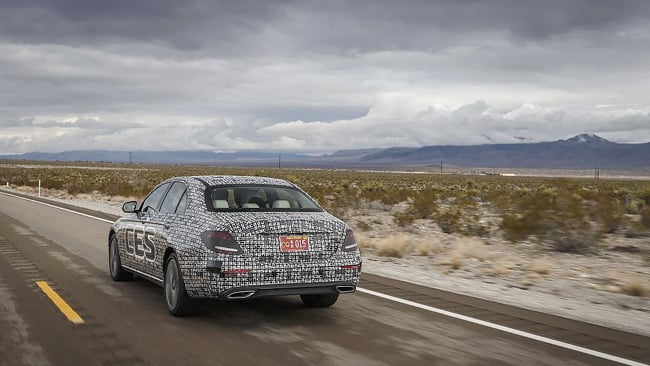Mercedes Benz Intelligent Drive E-class on highway in NV