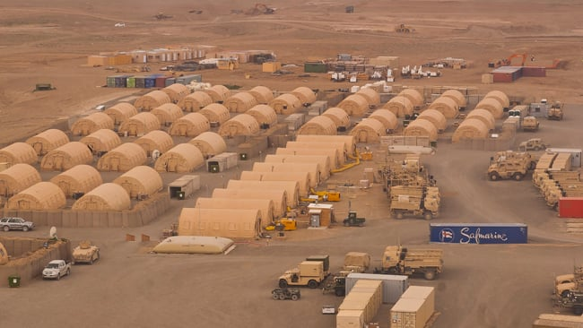 aerial view of Forward Operating Base Sharana, Afghanistan