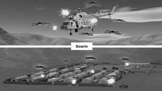 U.S. Army concept rendering of drone swarm attacks