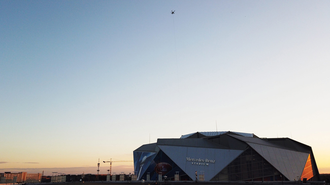 Elisair tethered drone high above Mercedes Benz