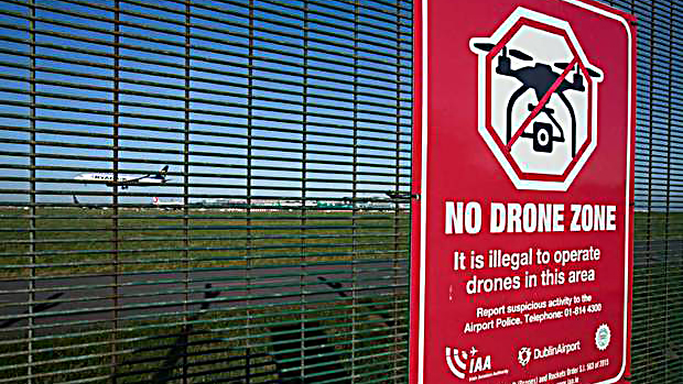 No Drone Zone sign outside Dublin Airport