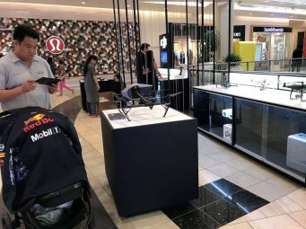 Store employees on Friday set up drone maker DJI's second San Francisco store, in the Westfield San Francisco Centre mall, to prepare for Saturday's grand opening.