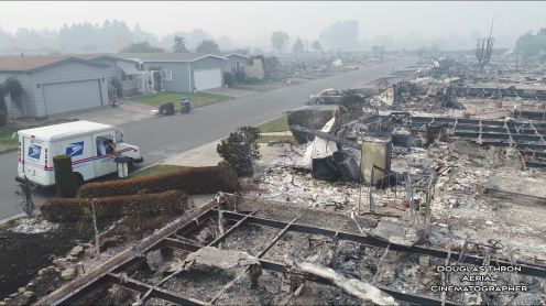 Drone video: USPS postman delivers mail in burned down Santa Rosa neighborhood0003