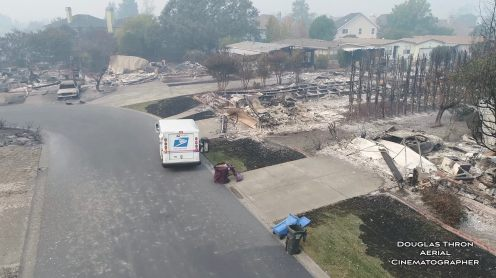 Drone video: USPS postman delivers mail in burned down Santa Rosa neighborhood0006