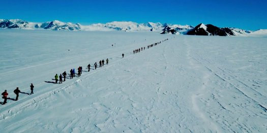 Cinematic footage of Antarctic Ice Marathon captured by drone