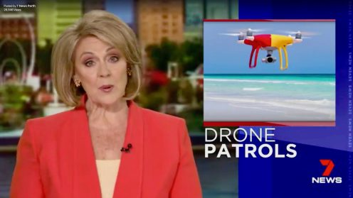 Drone patrol at beaches in Perth, Australia