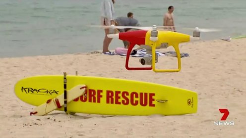 As we go into the winter here in New York, summer is just getting started in Perth, Australia. This year the lifeguards will have a new member on their team, a drone. In Surf Life Saving colors these drones will help the lifeguards patrol the beach, looking for swimmers in need and to spot any sharks nearby. Both swimmers and sharks are very hard to spot from the beach, but from a drone's point of view, they are clearly visible in the ocean water.