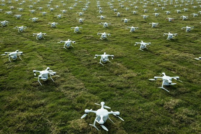 Dozens of drones waiting to perform in a light show at Hannan General Aviation Airport in Wuhan, China, in November. Credit Lam Yik Fei for The New York Times