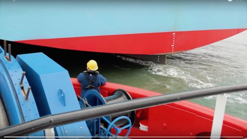 Drones will be used by Dutch towage company, Kotug to improve safety and efficiency during their towing operations. The Rotterdam-based company that operates in ports and terminals around the world, will be using drones to fly the messenger line from the tugboat to the assisted vessel. This new approach is a Dutch invention for which a patent has been filed.