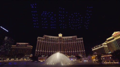 Intel shows of it drone swarm skills during a light show at the Bellagio 0001