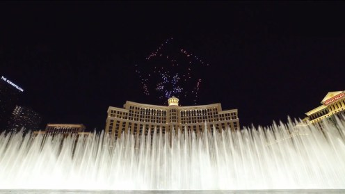 Intel shows of it drone swarm skills during a light show at the Bellagio 0010