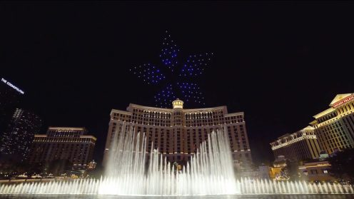 Intel shows of it drone swarm skills during a light show at the Bellagio 0018
