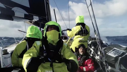 Watch this crew fly and catch a drone from a sailing Volvo Ocean Race yacht [video] 0001