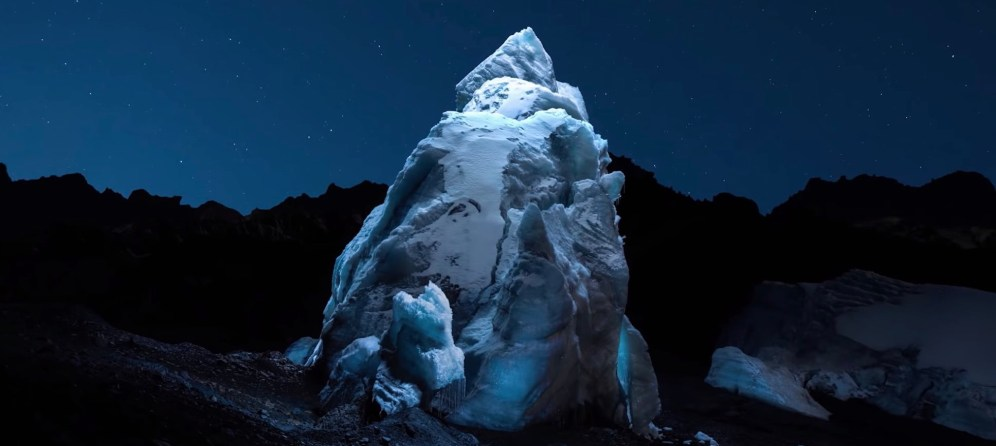 Photographer Reuben Wu uses a drone with Lume Cubes to light up glaciers in Pastoruri, South America of which he then takes photos.