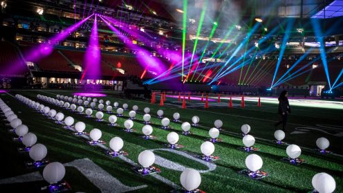 Intel Drone Team members prepare 150 enhanced Intel Shooting Star drones for flight during rehearsals for the Pepsi Super Bowl LIII Halftime Show. During Super Bowl LIII in Atlanta on Feb. 3, 2019, Intel Corporation partnered with the NFL to create the first-ever live drone light show during a Super Bowl Halftime Show. (Credit: Intel Corporation)
