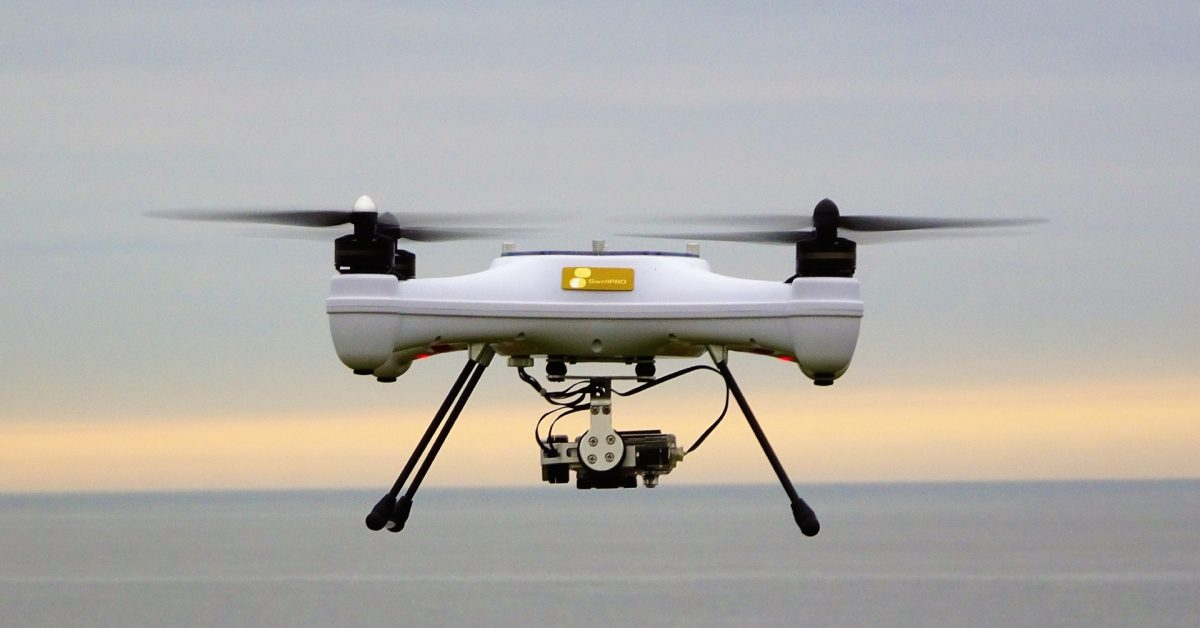 photo of UK scientists using drones in selecting tidal power installations image