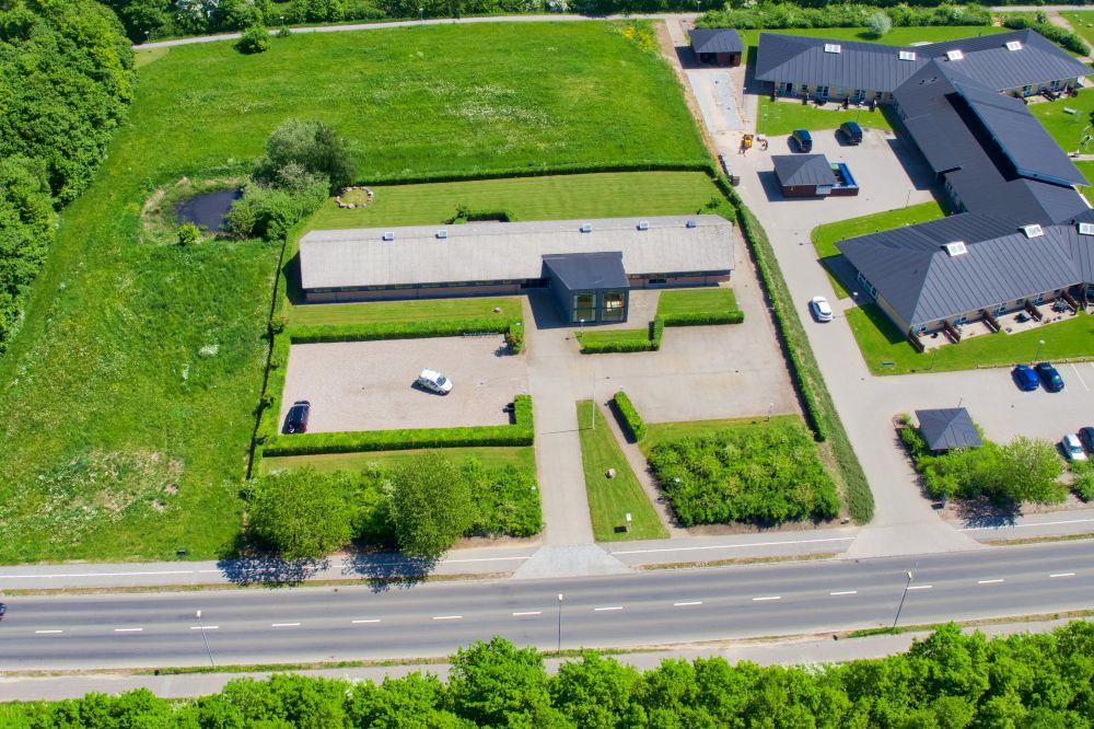 Erhverves ejendom Langeland set fra drone
