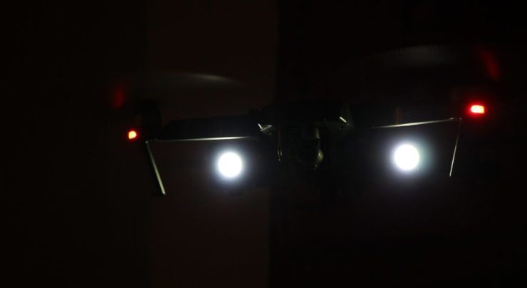 drone mavic pro with lume cube attached
